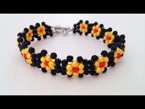 Make simple beaded flower bracelet. Bracelet design idea - YouTube