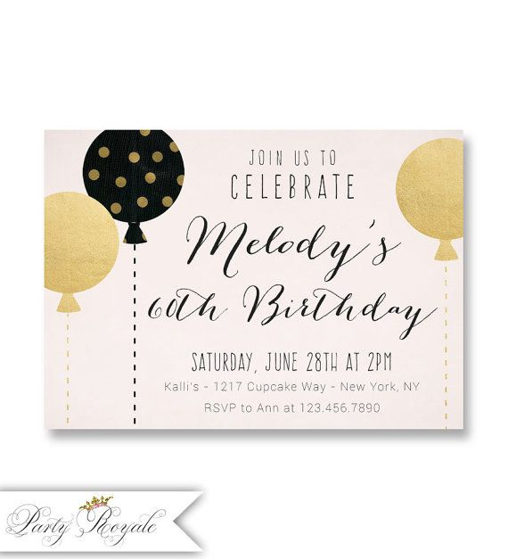 Blush Pink and Gold 60th Birthday Invitations Milestone 40th