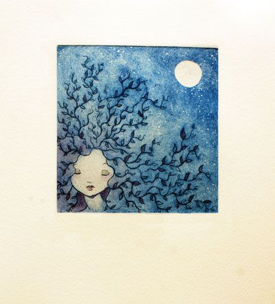 Tree blue woman illustration - Etching print colored with watercolor - 11x12cm
