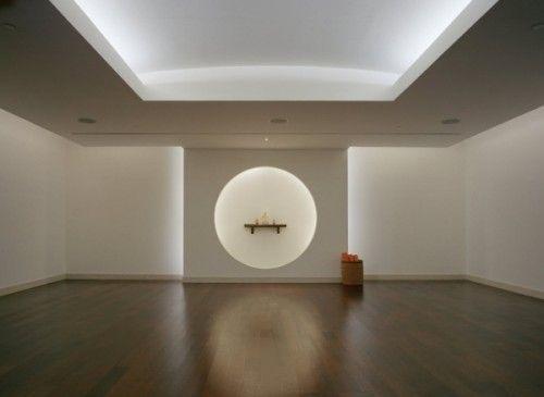 yoga studio: like the backlit cut circle - simple wall treatment - add lights = high impact.
