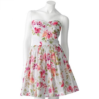 Look lovely in this Speechless dress. A floral print lends vibrant colors to this juniors' strapless dress. In white/fuchsia at Kohl's