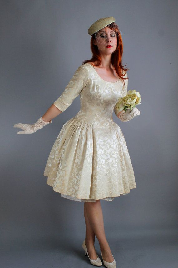 cyber monday sale 1950s cream brocade winter wedding