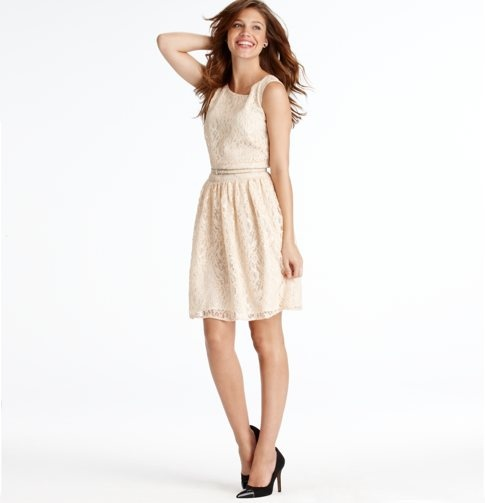 Shimmer Lace Belted Dress - Loft    I would like this, but maybe we can get it altered to have a darker layer underneath the skirt part of it, and maybe put a sash around the waist... something to break up the ivory lace. Though I do like this one!!