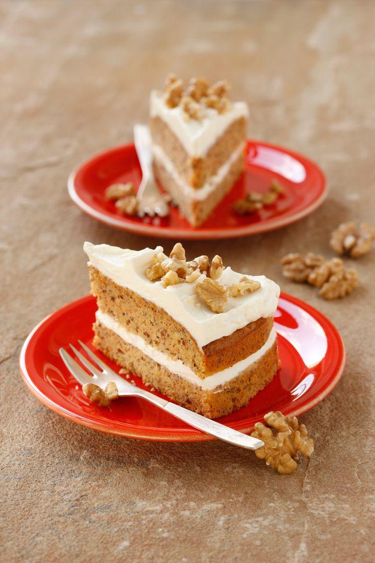 Karottentorte mit Nuss, Rezept, Backen, Torte, Kuchen, Nachspeise, Bio, Walnüsse, Creme