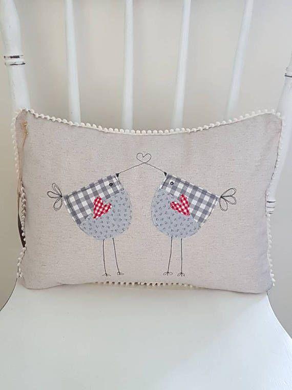 lovebirds cushion bird cushion linen cushion decorative