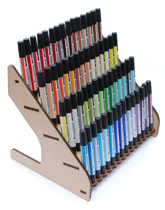 Laser Cut MDF Promarker Storage Rack for 60 Pens by Littlebiglaser, £14.99