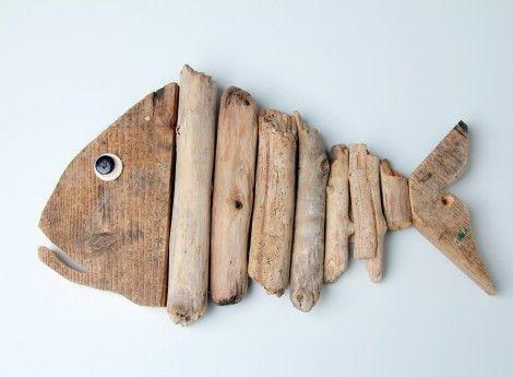 PITAGORA pesce assemblato con legno spiaggiato H cm 21 - lung. cm 35