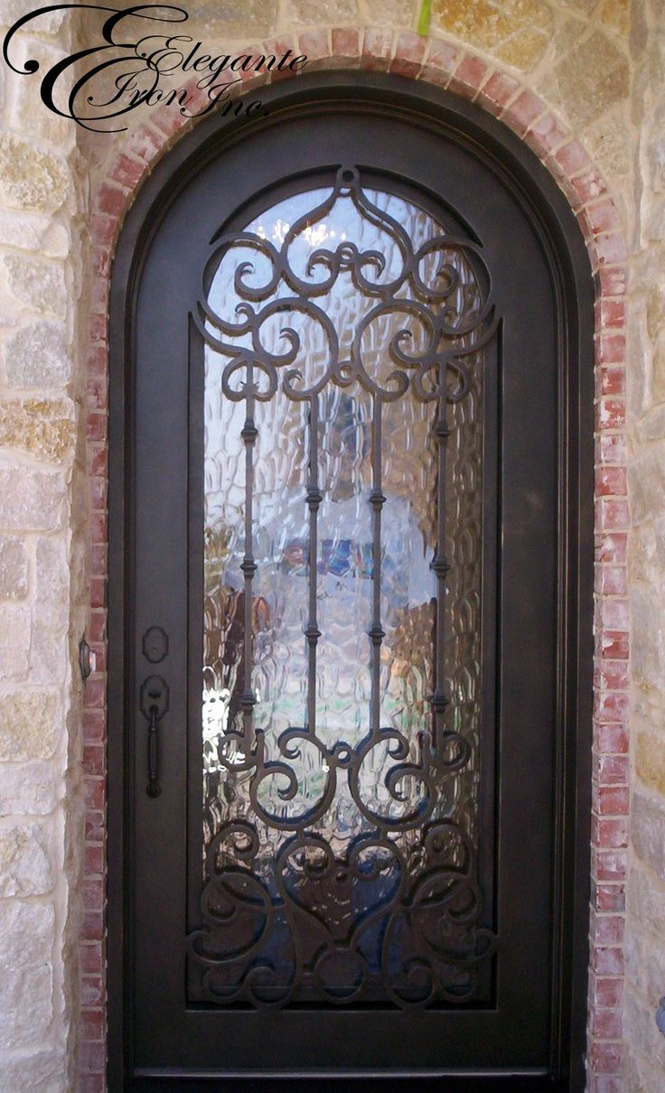Single entry doors with glass - Custom Wrought Iron Front Door Full Arch
