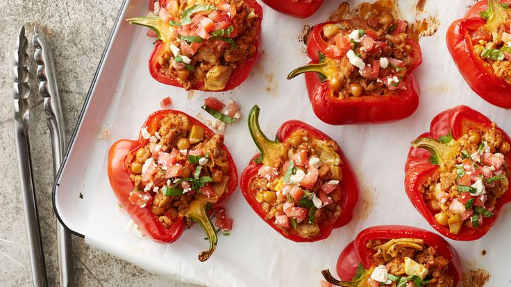 For this light and flavorful take on stuffed peppers, we made a filling of seasoned ground turkey, chick peas, artichoke hearts, mozzarella cheese and feta cheese that comes in at just 260 calories. Simply stuff your peppers, bake and finish the dish with a fresh tomato-basil topping.