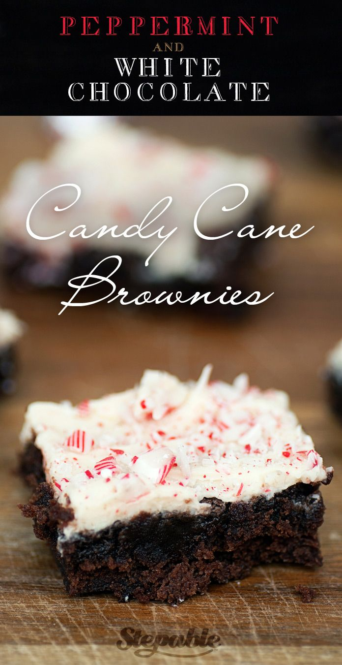 It's officially holiday baking time! Prepare to devour these Peppermint & White Chocolate Candy Cane Brownies made easy using a box of brownie mix. @stepable #recipes #holidays #baking