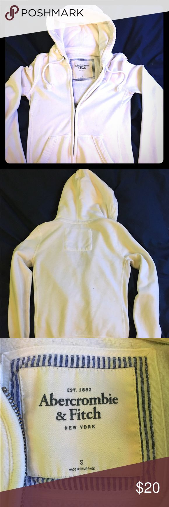 A&F women's white zip up hoodie Women's A&F white zip up hoodie, size Small US Abercrombie & Fitch Tops Sweatshirts & Hoodies