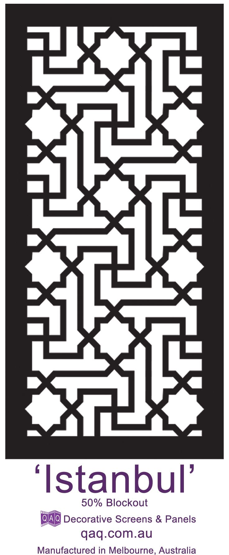 Laser cut screen 'Istanbul' design by QAQ Decorative Screens & Panels. Made in Melbourne, VIC.