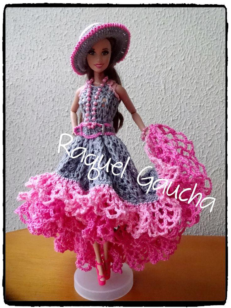 #Cléa5 #Crochet #Muñeca #Barbie #Doll  #Vestido #Dress #Chapéu #Sombrero #Hat #RaquelGaucha