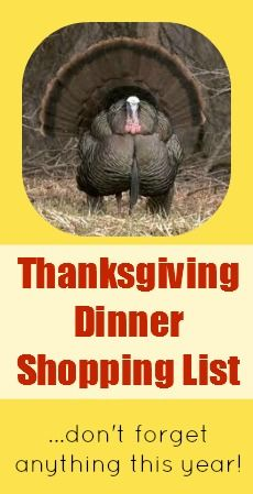 Thanksgiving Dinner Shopping List -- Shop Early This Year! by The Sweet Spot Blog #turkey #food #november