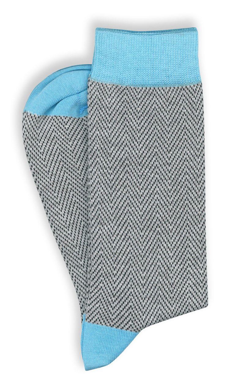 8 paia di calze corte da uomo in cotone pettinato grigio e azzurre