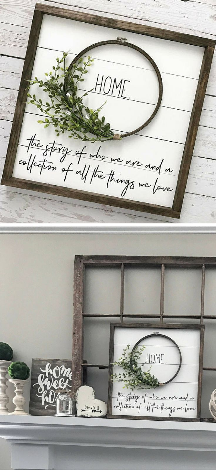 This sign is perfection - Home.. The story of who we are and a collection of all the things we love! Framed Shiplap Sign, Shiplap Wreath sign, Fixer Upper Sign, Farmhouse Sign, Farmhouse Decor, Fixer Upper Decor, Home decor Sign, gallery wall, Rustic sign, Rustic decor #ad