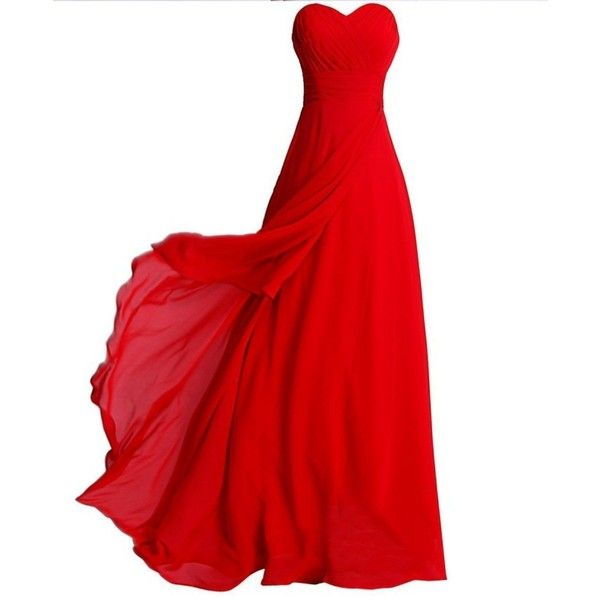 Annie's Bridal Women's Sweetheart Chiffon Long Bridesmaid Dresses 2015... (120 CAD) ❤ liked on Polyvore featuring dresses, gowns, long red dress, bridesmaid dresses, long chiffon dress, long evening gowns and long prom gowns