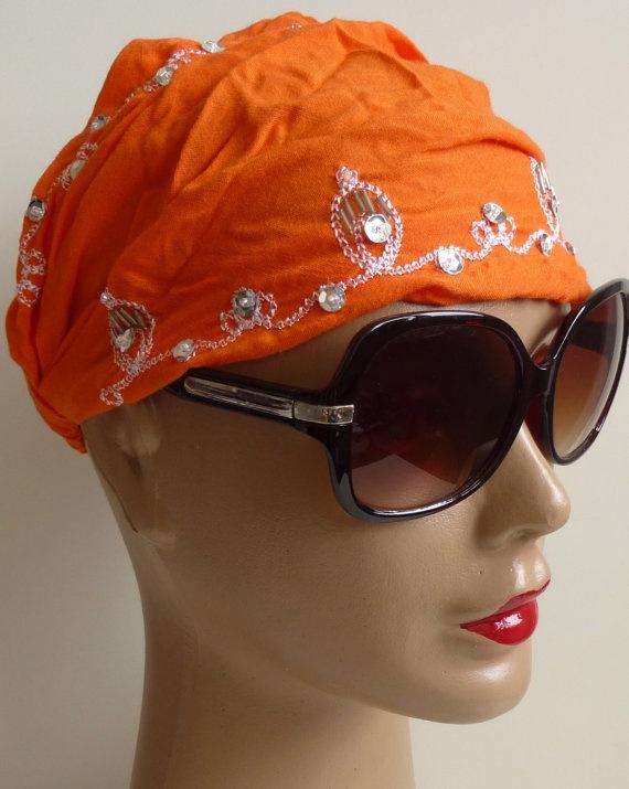 Orange Bandana Indian style embroidery Bandana by ShawlsandtheCity, $10.00