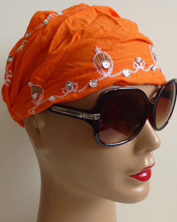 Orange Bandana Indian style embroidery Bandana by ShawlsandtheCity, $10.00