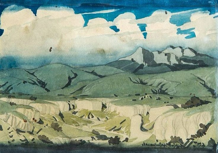 Maximilian Voloshin (1878 — 1932, Russia) Crimean Landscape. 1923 watercolor on paper. 15.7 х 21.5 cm. (6.2 х 8.5 in.)