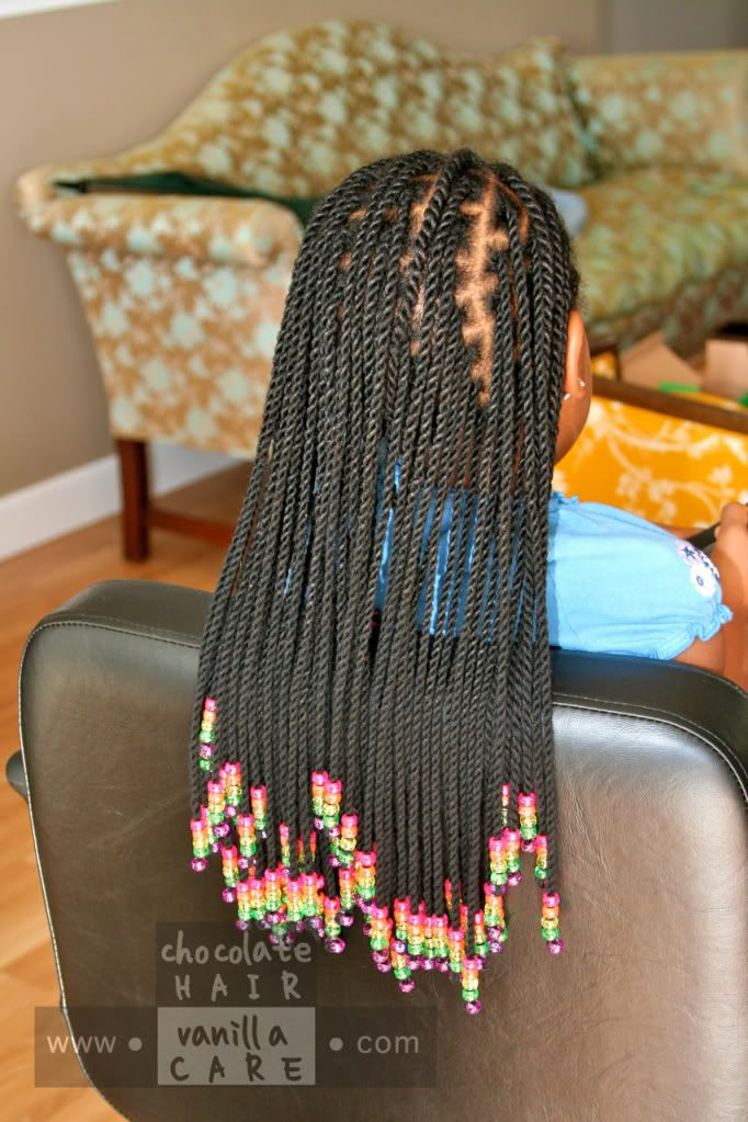 Yarn Twist Extensions with Front Yarn Flat Rope Twists | Chocolate Hair / Vanilla Care