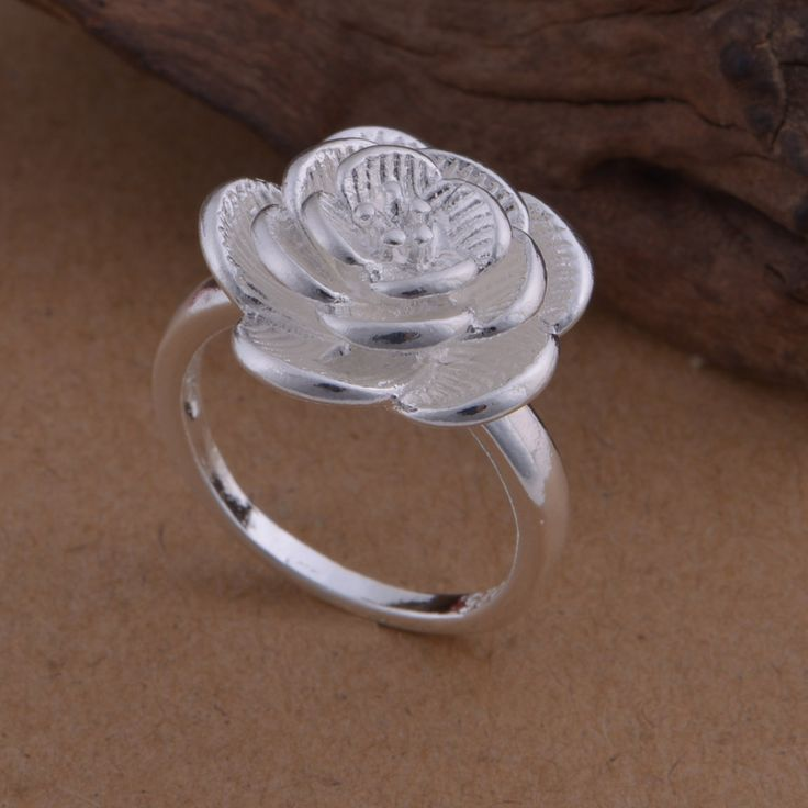 ZMZY Silver Jewelry Rose Rings For Women Layer Blooming Flower Ring Female Party Gift