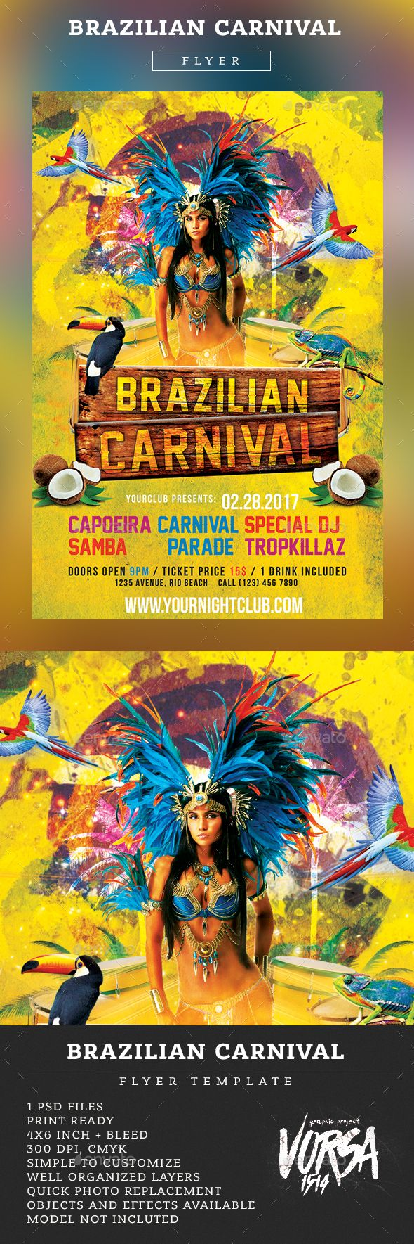 Brazilian Carnival Flyer Template - Clubs & Parties Events