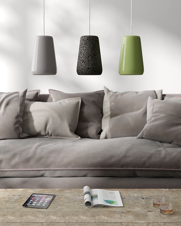 Glazed lava stone lamp. Original details which simple introduce colors into living decor #lavastone #lampdesign