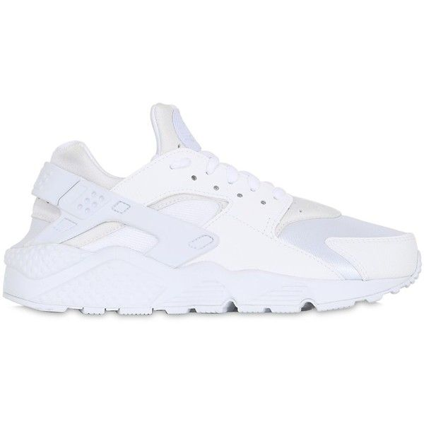 Nike Women Air Huarache Run Mesh Sneakers found on Polyvore featuring shoes, sneakers, nike, white, perforated shoes, white trainers, white mesh shoes and white sneakers