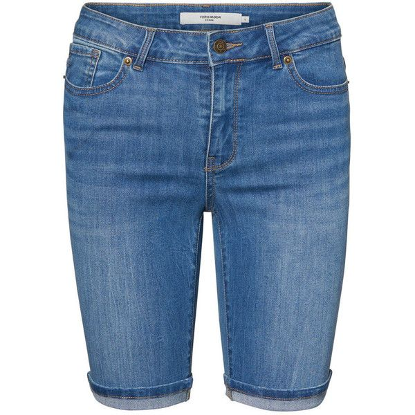 LONG NW DENIM SHORTS ($31) ❤ liked on Polyvore featuring shorts, longer length shorts, long shorts, denim short shorts, short jean shorts and long jean shorts