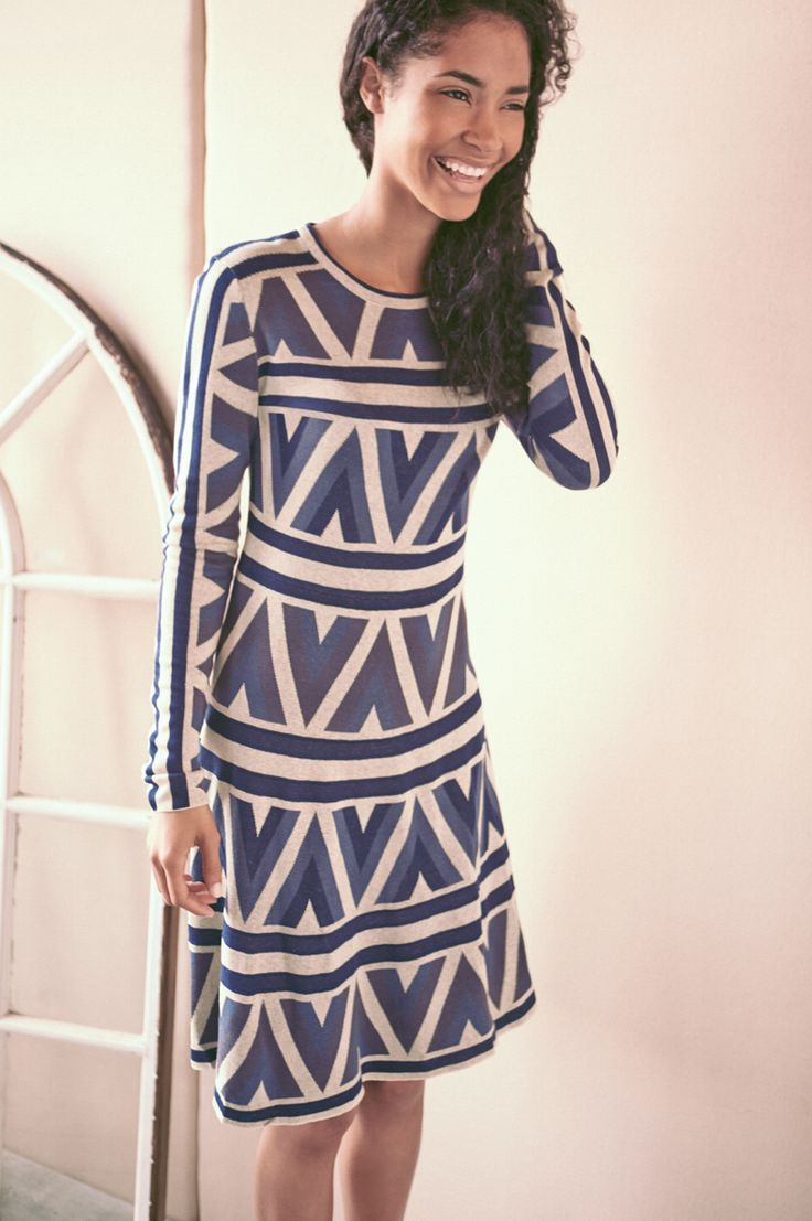 Transition from summer to fall with a sweater dress.: Colour Patterns