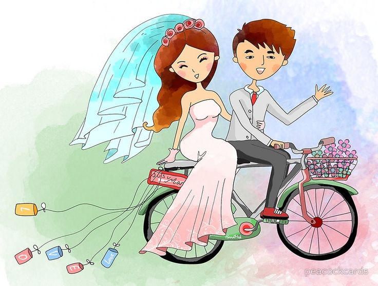Bride and Groom Just Married Bicycle Flowers posters, prints, framed prints, and canvas art.
