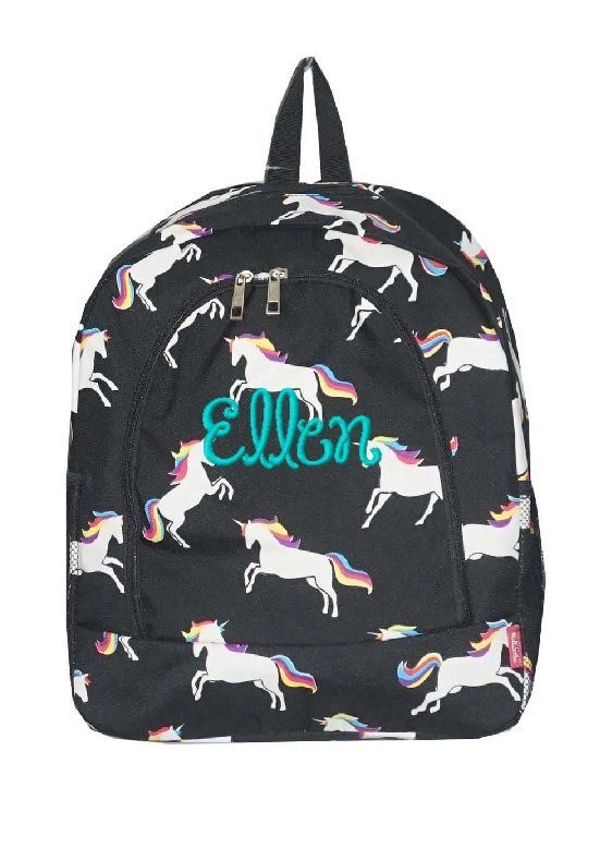 Personalized Black Rainbow Unicorn School Size Backpack Book Bag -  Monogrammed Name or Initials or Word by D84Designs on Etsy 04a6bf94394de