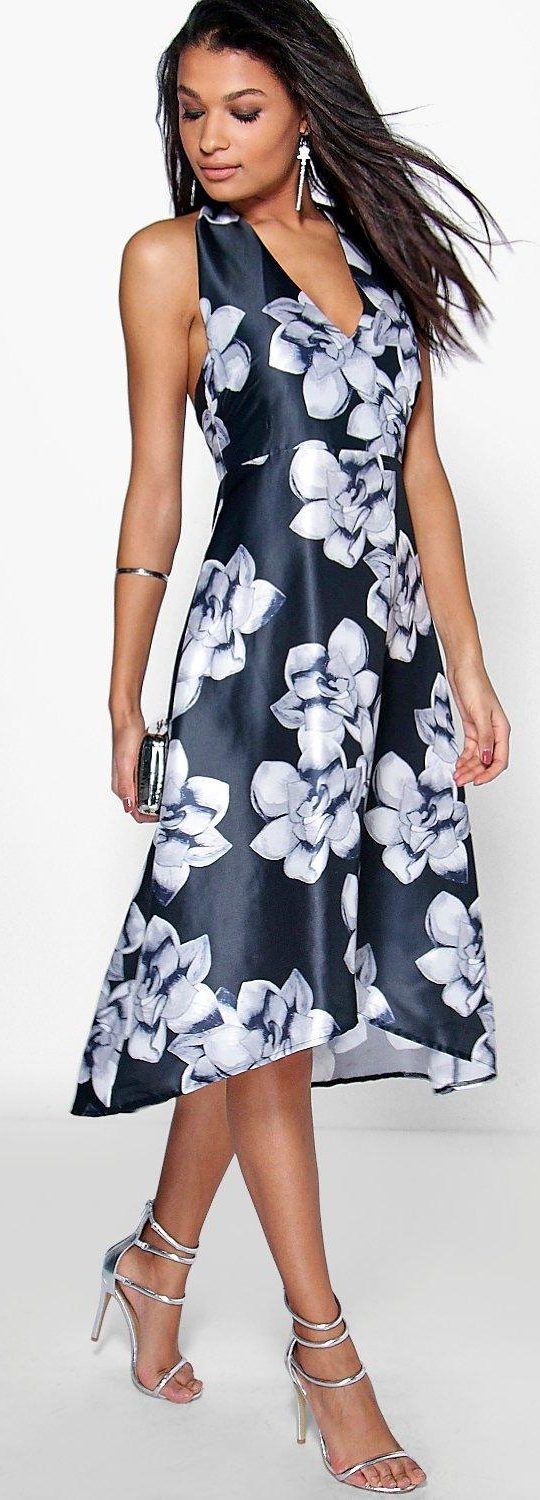 Taylor Floral Sateen Halterneck Skater Dress - Dresses  - Street Style, Fashion Looks And Outfit Ideas For Spring And Summer 2017