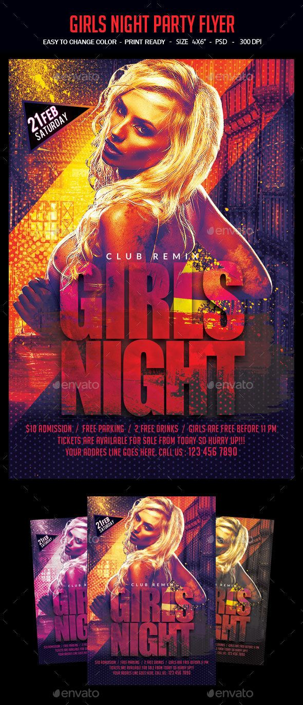 Girls Night Party Flyer Template PSD #design Download…