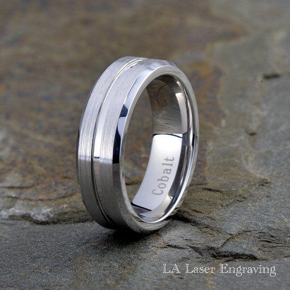 Men's Cobalt Wedding Band Cobalt Wedding Ring by LALaserEngraving