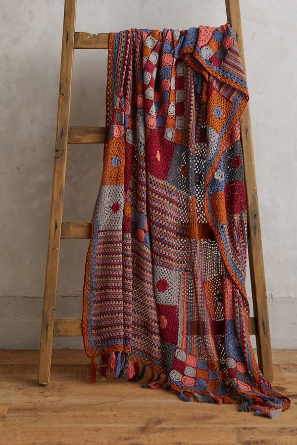 Anthropologie Patchwork Crocheted Throw