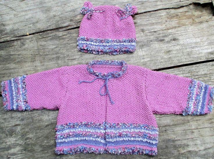 KIT à tricoter veste et bonnet fillette (3 à 18 mois) de la boutique Sylviecambet sur Etsy