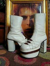 """RARE Vintage 1970's Glam Rock 5"""" Heel Platform Boots Shoes.David Bowie,T-Rex,S 9"""