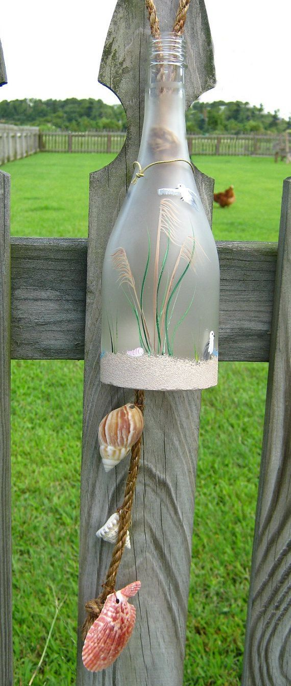 Wine Bottle Wind Chime - Frosted Glass with Hand-Painted Beach Theme and Real Sand and Shells on Etsy, $25.00 by Maranda Winston