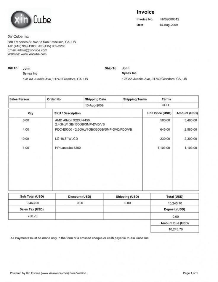 Sample Chef Invoice Templates di 2020