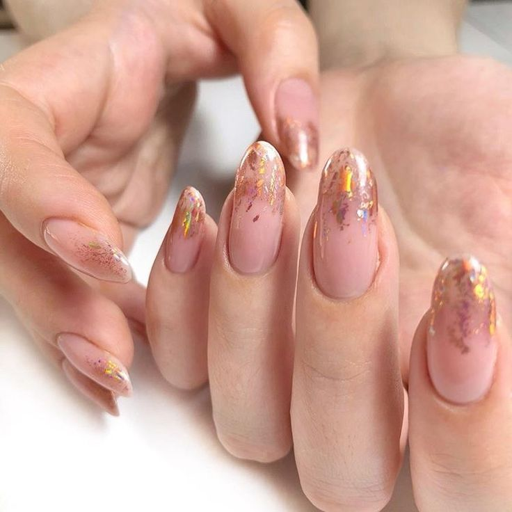 Nude gel nails manicure with <b>rose gold copper</b> #nails #manicure ...