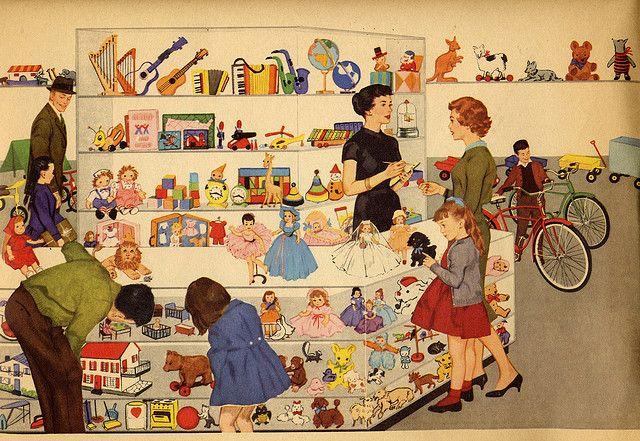 Vintage toy shop illustration