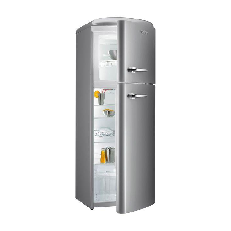gorenje RF60309 173.7cm Retro Freestanding Inox Silver Fridge Freezer