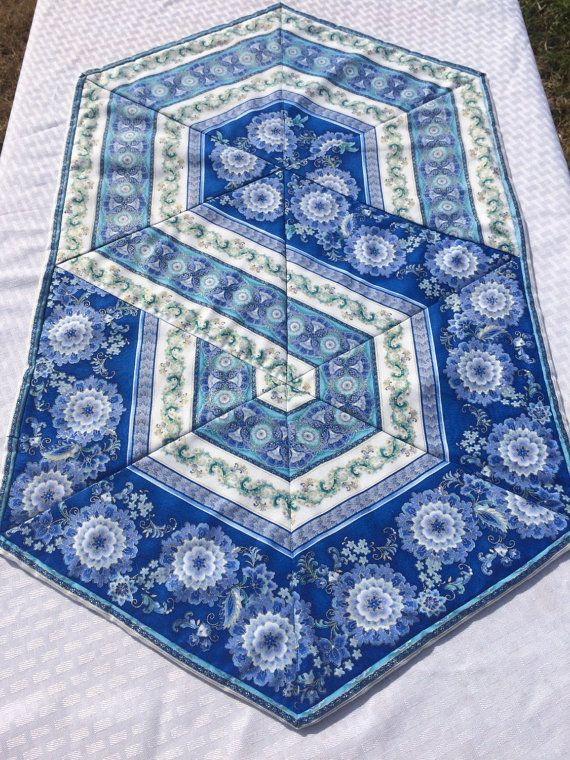 Triangle Frenzy Swirl Hexagon Table Runner by Heathersquaintquilts