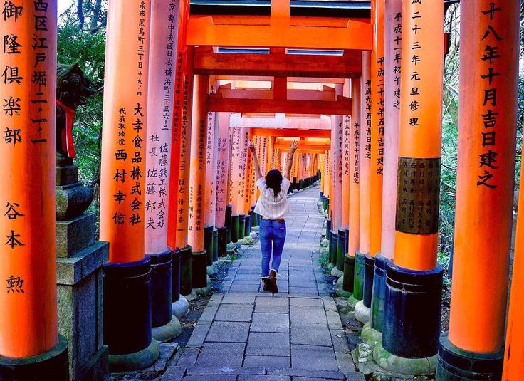 These gates are on Kyoto where they wind up a mountain leading the way to the Fushimi Inari shrine. I was apprehensive when I first started the hike as the path was PACKED with tourists - the good news is that most people don't go very far meaning you get a very different experience at the top than the bottom!  Each torii gate is said to be a bridge between the physical and spiritual worlds. Individuals and organisations provide a donation in order to get a gate inscribed with their name and…