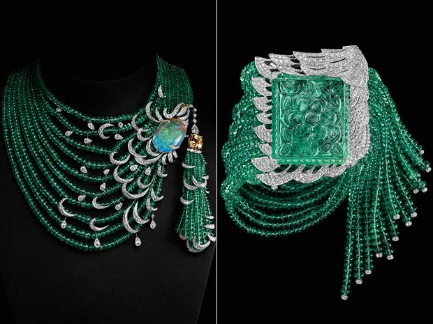 Cartier necklace, platinum, sapphire color 11.14 carat opal, yellow and white diamonds, emerald beads, on the right: bracelet, platinum, emerald, 77, 28-carat, emerald beads, diamonds,