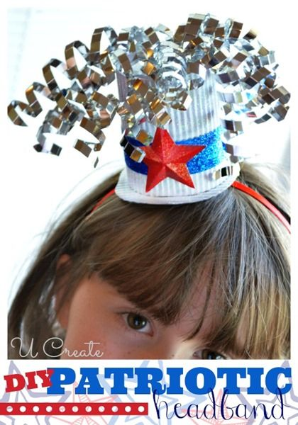 Patriotic hat craft - paper, curling ribbon, stickers, glitter, plastic headbands, paper cups