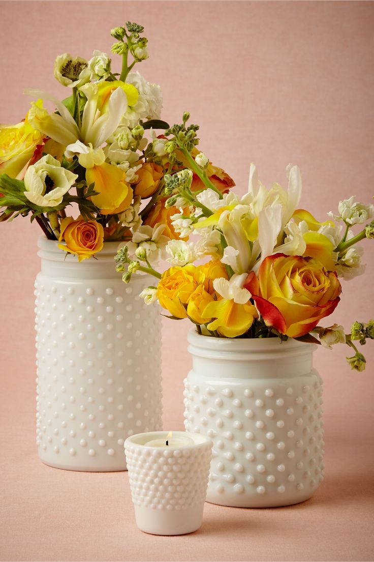 Milk glass hobnail jars so pretty for a centerpiece