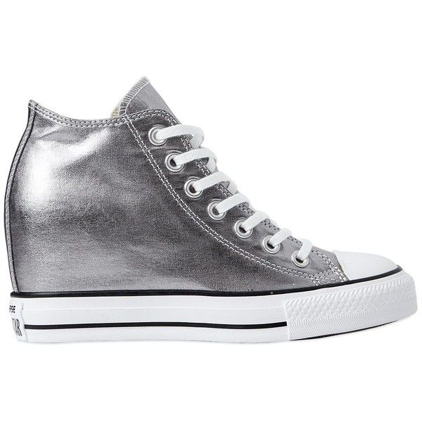 Converse Women 80mm All Star Metallic Canvas Sneakers ($160) ❤ liked on Polyvore featuring shoes, sneakers, silver, wedge heel sneakers, wedge trainers, wedges shoes, wedge heel shoes and metallic wedge shoes